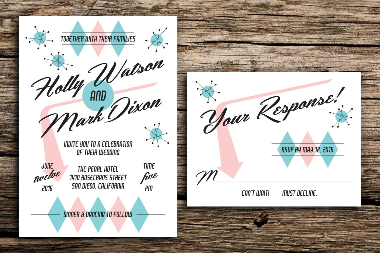 50s wedding invitations - 28 images - 50s style wedding invitation ...