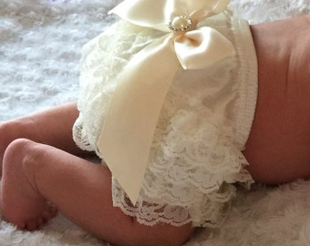 Baby Girls Petti Lace Bloomer and headband set, newborn lace bloomers,Ivory Lace Diaper Cover, Diaper Cover, Baby Shower Gift, photo prop