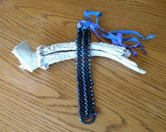 "Hand Made To Order 1""  Bead Crochet  10"" Fashion Dog Collar"