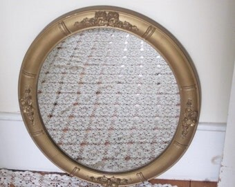 Antique Gold Gilt Wood Oval Mirror