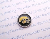6 Iowa Hawkeyes Charms Silver Plated University Logo Round Pendants