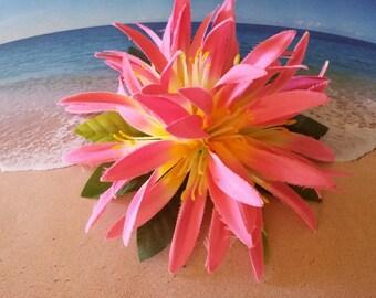 Tropical silk flower hawaiian hair clip (06)