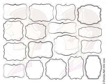 Digital Frames and Borders Clip Art Teacher Frame Vector Set DIY Simple Invitations COMMERCIAL USE Label Tags Transparent Middle 10087