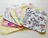 Flannel Baby Wipes, Baby Diaper Wipes, Diaper Cloths, Makeup Remover Cloths, Double Sided Wipes, Cloth Diapers, SET of 7, Baby washcloths