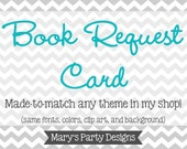 Made-to-Match Printable Book Request Card • Add-on to your Invitation Order