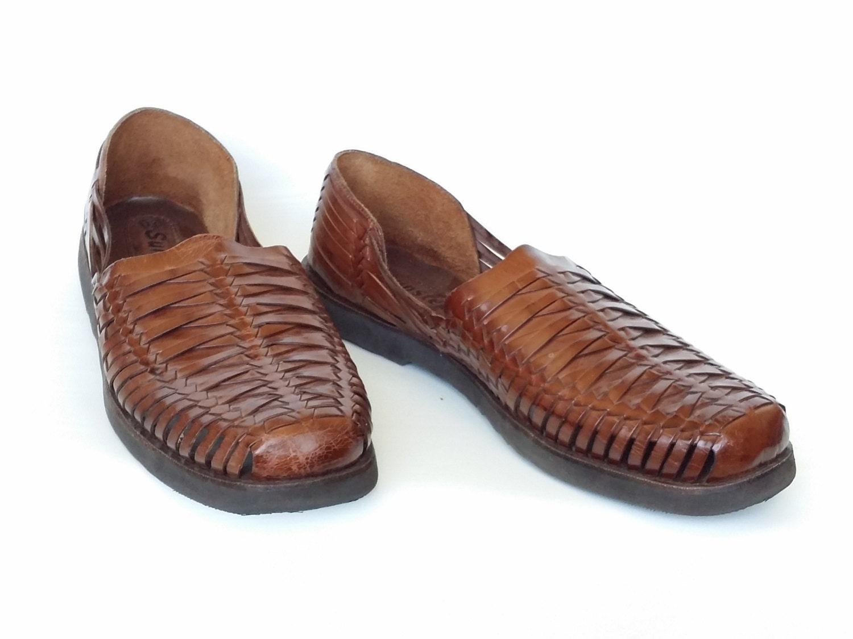 huarache sandals s sz 13 brown leather woven