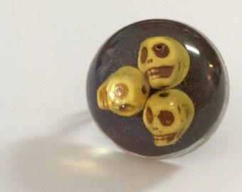Skull Ring - Skull Jewelry - Sugar Skull - Sugar Skull Ring - Yellow Skull Ring - Ring - Sugar Skull Jewelry - Skulls