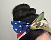 Army American flag headband, Dolly bow headband Army American Flag head band, hair bow, A1