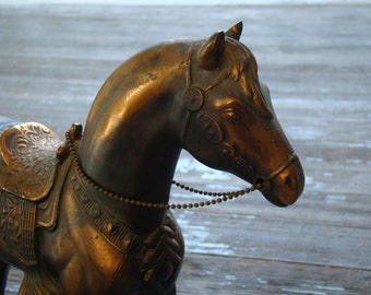 Ladies Western Pleasure - Vintage 1940s Large Hollow Metal Parade Horse in Tack, Rifle and Patina