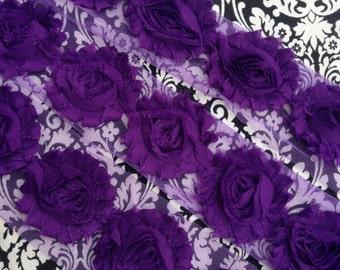 Grape Purple Shabby Chiffon Flowers for making baby headbands & DIY crafts dark plum wholesale 2.5 inches yards halloween