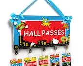 Superhero themed teacher classroom passes bathroom students pass - HP32
