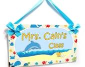 beach and sea life theme teachers personalized class door plaque - P2126