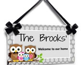 custom family est front ddor sign - owls themed personalized name signs -parents and kids  sign - P631