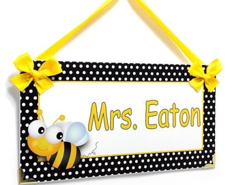 custom teacher classroom door sign -  bumble bee black and yellow - P288