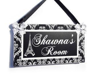 Eiffel Tower damask pattern girls french themed door sign - Paris french decor black white - P2148