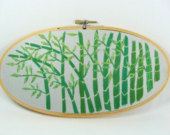 Hand Embroidered Bamboo Wall Hanging - green, orient, 9.5 x 5.5 oval hoop, great gift, zen, home decor, custom work available