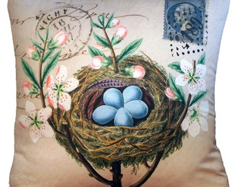 Antique French Style Cushion Pillow Cover Nest Egg Postage Ephemera - Blue Eggs in Nest