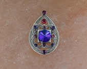 Tribal Bindi hand made with Swarovski crystals and elements (silver base) - violet and purple colors