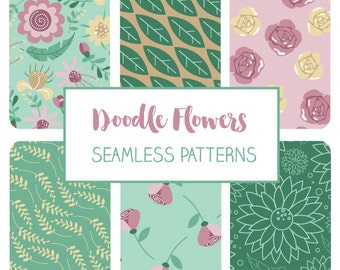 Doodle Flowers Seamless Pattern - Floral Tileable Paper - Fabric Print, Wall Papers, Wrapping Papers - Instant Download