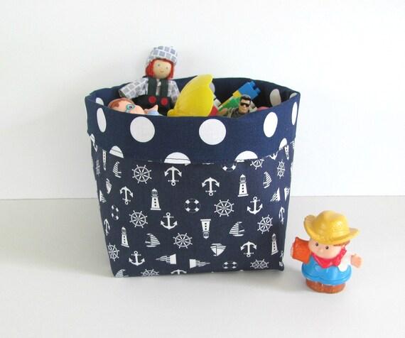 Fabric storage bin nautical navy fabric basket home decor for Navy bathroom bin