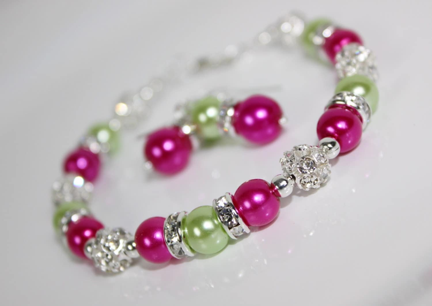 Hot pink and bright green bridesmaid jewelry set bridesmaid for Pink wedding jewelry sets