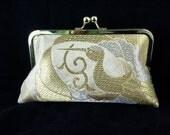 wedding clutch purse evening bag with metal kiss lock closure - silk obi gold and silver cranes