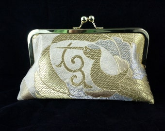 wedding clutch purse evening bag with metal kiss lock closure - silk obi gold and silver cranes