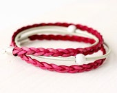 Leather Wrap Bracelet - Ruby Red & Mint Leather with Silver Beads  - July Birthday Gift Idea