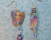 "Dainty ""Art Girl"" Earrings -- OOAK -- Light as Air Mismatched for Fun"