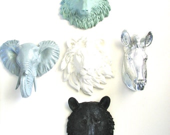 Set of 5 ANY COLOR/Any color combination Small Faux Animal Heads choose from: wolf bear tiger lion elephant or zebra wall decor home decor