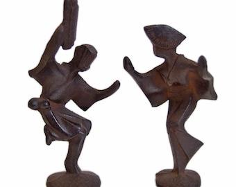 Sculptures of 2 Japanese Dancers | Cast Iron | Awaodori | Keiten Takahashi
