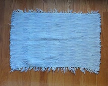 """Vintage Hand Woven Rag Rug 29"""" x 18"""" Soft Pale Blue Tufted Shabby Worn Country Rustic Decor Cotton handmade loomed Floor Cover Porch Pet Mat"""