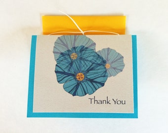 Morning Glory Thank You Greeting Card-Cream - Set of 10-Available blank