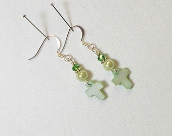 Cross Earring Green Shell Cross With Pearl and Shimmer Crystal Dangle Earring