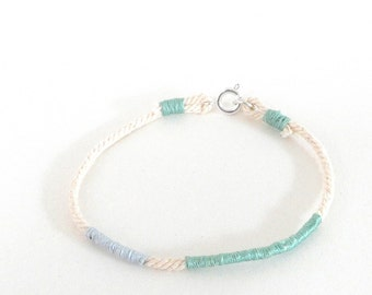 Green and blue rope bracelet