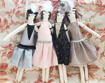 2015 PRICES! 1920s Flapper Ragdoll: Cloth Doll, Ragdolls, Handmade from Vintage and Recycled Materials, Cloth Doll, Great Gatsby, Art deco