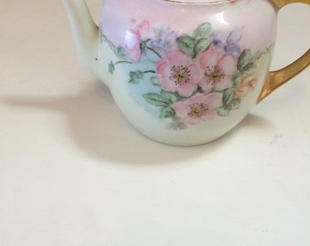 Vintage bavarian hand painted pink green florals gold gilt handle free shipping sale we offer free domestic shipping in the continental US