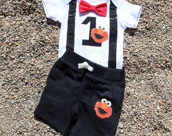 ELMO Baby Boy Bow Tie Bodysuit with Suspenders and shorts set  - Birthday, Photo Prop, Elmo, Sesame Street, 1st Birthday, Boys Birthday