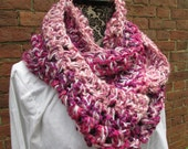 Infinity Scarf Crochet Acrylic Washable Colorful Warm Soft Handmade Cowl Fuchsia Pink White