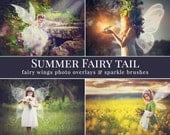 "Fairy photo overlays ""Summer Fairy Tail"", fairy wings photo overlays and sparkle brushes, gift - crown overlay, photo overlays for Photoshop"