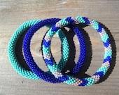 Turquoise, Peach and Cobalt Blue Handmade Beaded Bracelets Set,Seed Beads,Nepal, BS513