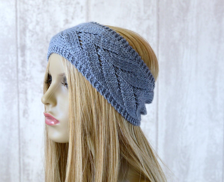 Knitting Headbands For Beginners : Knitting pattern chevron lace headband summer headwrap quick