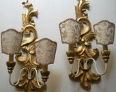 Pair of Vintage Italian Carved Gilt Wood Wall Sconces with Ivory and Gold Rubelli Fabric Clip On Lamp Shades - Made in Italy