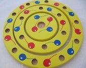 3 pieces yellow wooden birthday ring candle holder set in yellow with red, blue balloons pattern