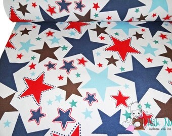 0,5 x 1,50 m furnishing fabric STARS blue red brown white, 80/20% Cotton/Polyester
