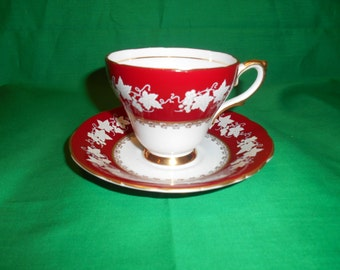 One (1), Bone China, Footed Teacup & Saucer, from HM Sutherland, in the 54 Pattern.