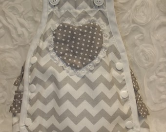 Vintage style baby girl chevron grey sunsuit with ruffle bottom size Newborn