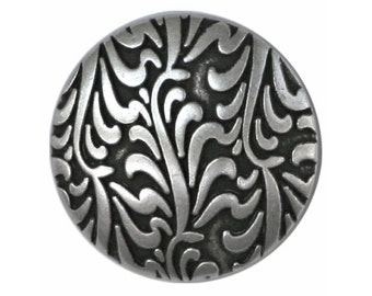 2 Fronds 7/8 inch ( 22 mm ) Metal Buttons Antique Silver Color