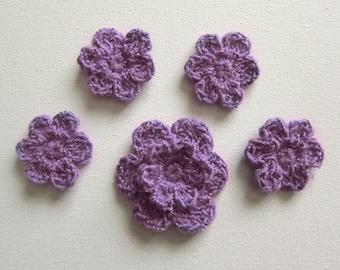 5pcs Crochet PURPLE Flower Applique