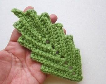 """1pc 6.5""""  Crochet Elongated RIDGED LEAF Applique"""